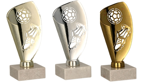 Pokali za nogomet, zlat, srebrn, bronast