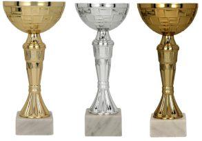 Komplet pokalov zlat, srebrn, bron